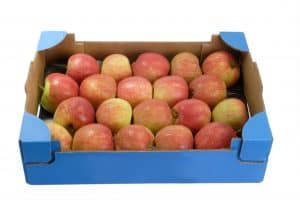 Apples in a cardboard box